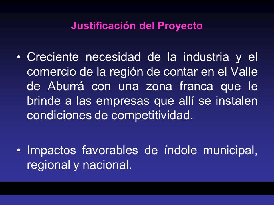 Justificación del Proyecto Creciente necesidad de la industria y el comercio de la región de contar en el Valle de Aburrá con una zona franca que le brinde a las empresas que allí se instalen condiciones de competitividad.