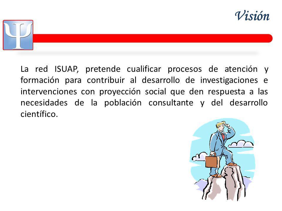 Visión La red ISUAP, pretende cualificar procesos de atención y formación para contribuir al desarrollo de investigaciones e intervenciones con proyección social que den respuesta a las necesidades de la población consultante y del desarrollo científico.