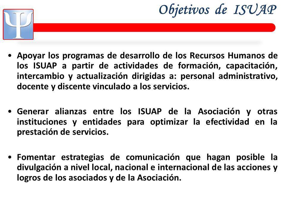 Objetivos de ISUAP Apoyar los programas de desarrollo de los Recursos Humanos de los ISUAP a partir de actividades de formación, capacitación, intercambio y actualización dirigidas a: personal administrativo, docente y discente vinculado a los servicios.