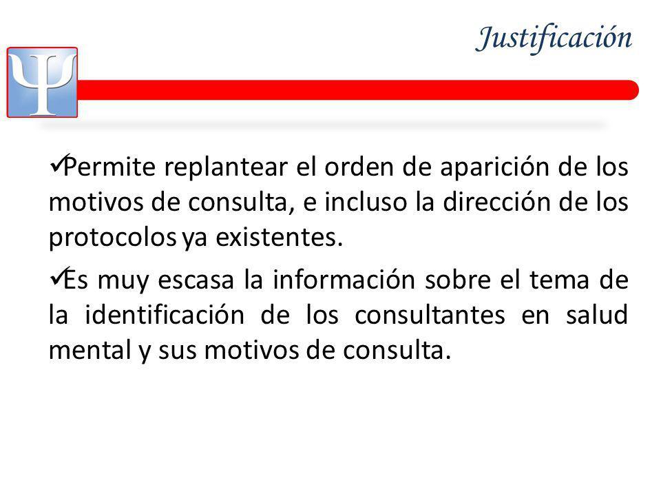 Justificación Permite replantear el orden de aparición de los motivos de consulta, e incluso la dirección de los protocolos ya existentes.