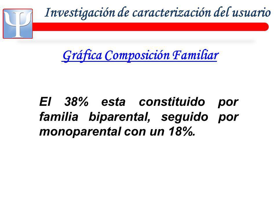 Investigación de caracterización del usuario Gráfica Composición Familiar El 38% esta constituido por familia biparental, seguido por monoparental con un 18%.