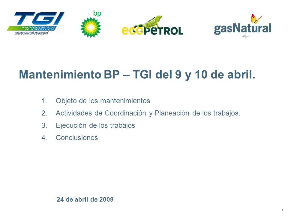 1 24 de abril de 2009 Mantenimiento BP – TGI del 9 y 10 de abril.