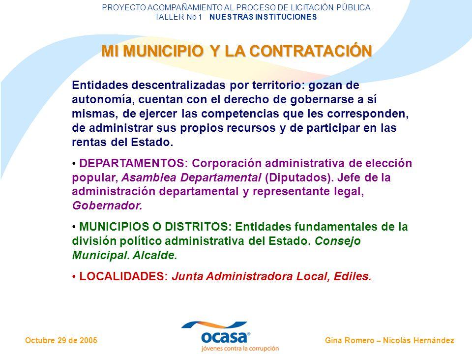Gina Romero – Nicolás Hernández Octubre 29 de 2005 PROYECTO ACOMPAÑAMIENTO AL PROCESO DE LICITACIÓN PÚBLICA TALLER No 1 NUESTRAS INSTITUCIONES OTROS ACTORES EN EL CONTROL SOCIAL Control en sentido amplio: rendir cuentas para defender los intereses públicos.