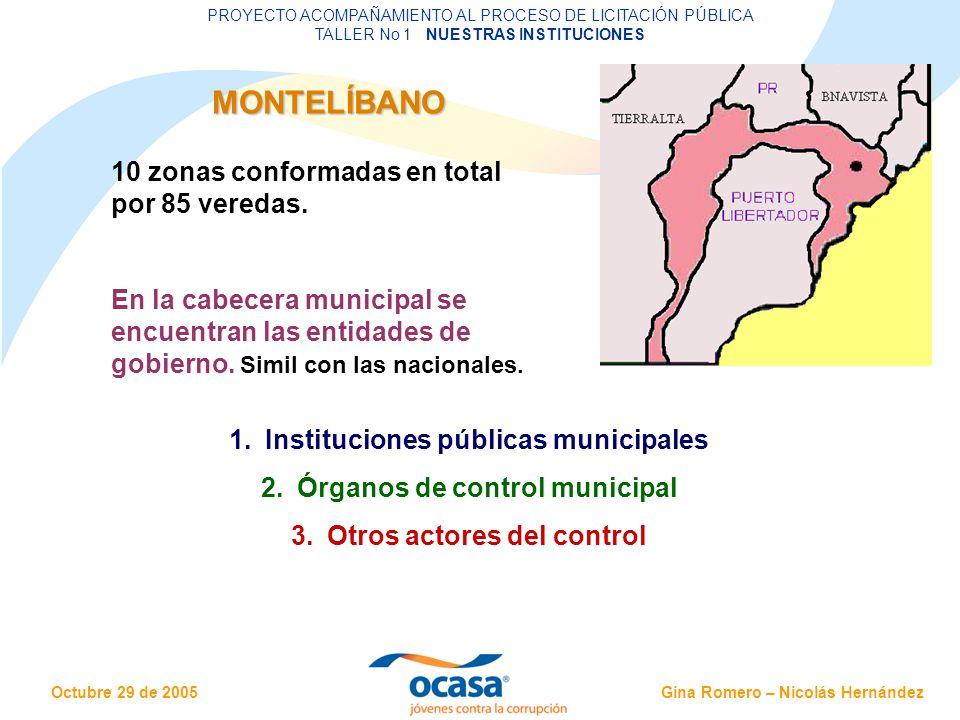 Gina Romero – Nicolás Hernández Octubre 29 de 2005 PROYECTO ACOMPAÑAMIENTO AL PROCESO DE LICITACIÓN PÚBLICA TALLER No 1 NUESTRAS INSTITUCIONES MI MUNICIPIO Y LA CONTRATACIÓN Entidades descentralizadas por territorio: gozan de autonomía, cuentan con el derecho de gobernarse a sí mismas, de ejercer las competencias que les corresponden, de administrar sus propios recursos y de participar en las rentas del Estado.