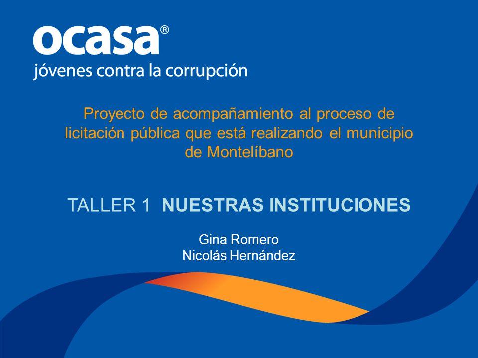 Gina Romero – Nicolás Hernández Octubre 29 de 2005 PROYECTO ACOMPAÑAMIENTO AL PROCESO DE LICITACIÓN PÚBLICA TALLER No 1 NUESTRAS INSTITUCIONES
