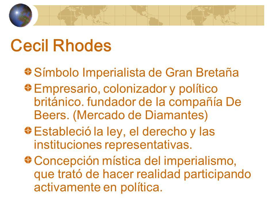 Cecil Rhodes Símbolo Imperialista de Gran Bretaña Empresario, colonizador y político británico.