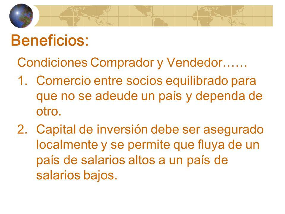Beneficios: Condiciones Comprador y Vendedor…… 1.Comercio entre socios equilibrado para que no se adeude un país y dependa de otro.