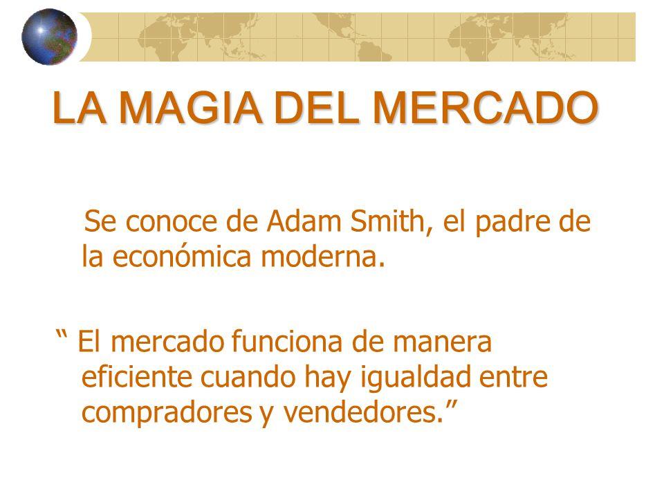 LA MAGIA DEL MERCADO Se conoce de Adam Smith, el padre de la económica moderna.