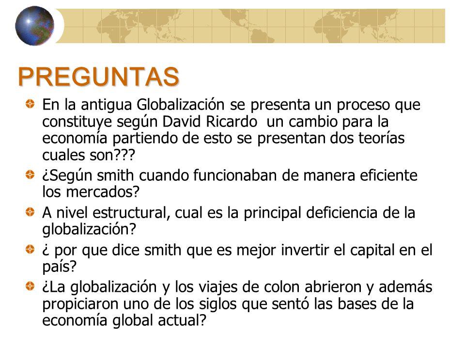 PREGUNTAS En la antigua Globalización se presenta un proceso que constituye según David Ricardo un cambio para la economía partiendo de esto se presentan dos teorías cuales son??.