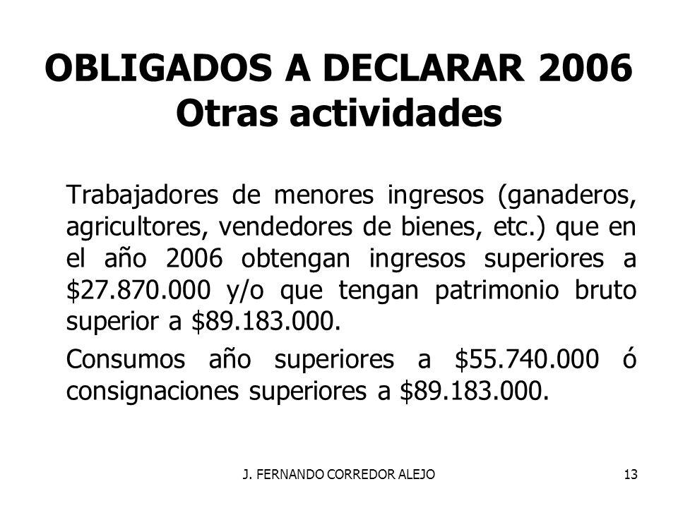 J. FERNANDO CORREDOR ALEJO13 OBLIGADOS A DECLARAR 2006 Otras actividades Trabajadores de menores ingresos (ganaderos, agricultores, vendedores de bien