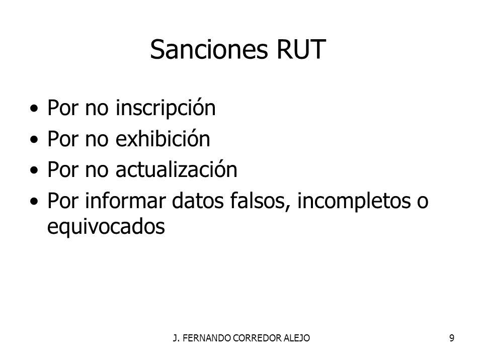 J. FERNANDO CORREDOR ALEJO9 Sanciones RUT Por no inscripción Por no exhibición Por no actualización Por informar datos falsos, incompletos o equivocad