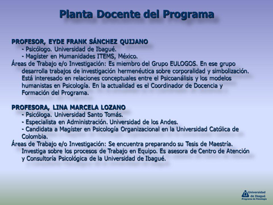 PROFESOR, EYDE FRANK SÁNCHEZ QUIJANO - Psicólogo. Universidad de Ibagué. - Magíster en Humanidades ITEMS, México. Áreas de Trabajo e/o Investigación: