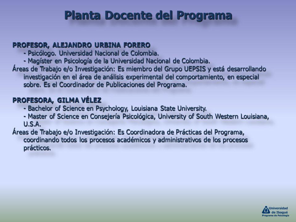 PROFESOR, ALEJANDRO URBINA FORERO - Psicólogo. Universidad Nacional de Colombia. - Magíster en Psicología de la Universidad Nacional de Colombia. Área