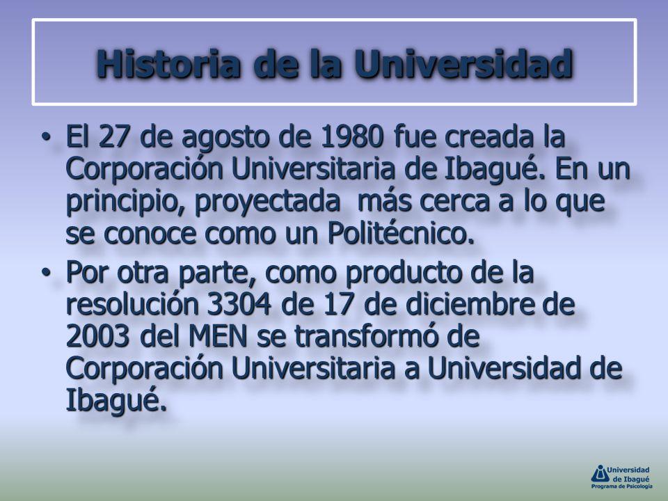 Historia de la Universidad El 27 de agosto de 1980 fue creada la Corporación Universitaria de Ibagué. En un principio, proyectada más cerca a lo que s