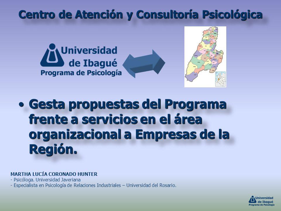 Centro de Atención y Consultoría Psicológica Gesta propuestas del Programa frente a servicios en el área organizacional a Empresas de la Región.Gesta