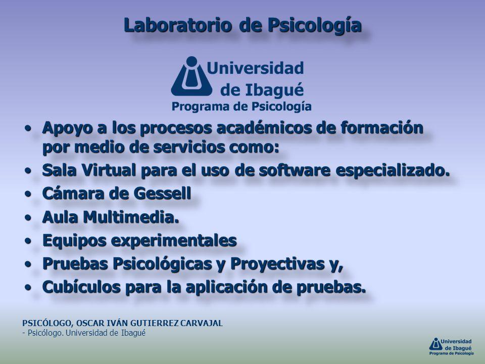Laboratorio de Psicología Apoyo a los procesos académicos de formación por medio de servicios como:Apoyo a los procesos académicos de formación por me