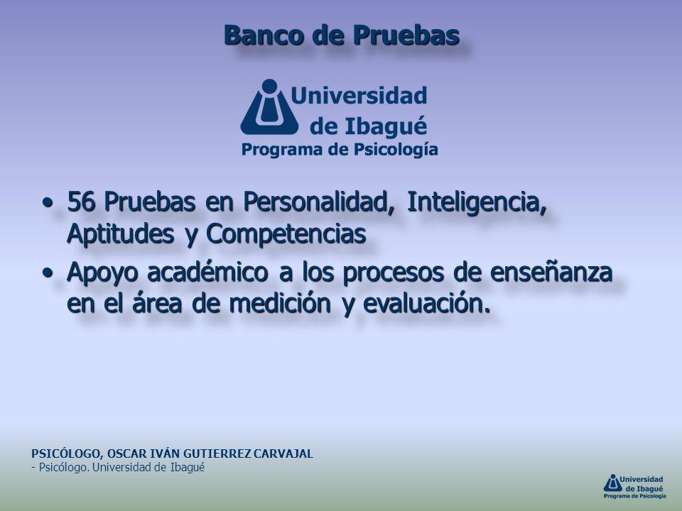 Banco de Pruebas 56 Pruebas en Personalidad, Inteligencia, Aptitudes y Competencias56 Pruebas en Personalidad, Inteligencia, Aptitudes y Competencias