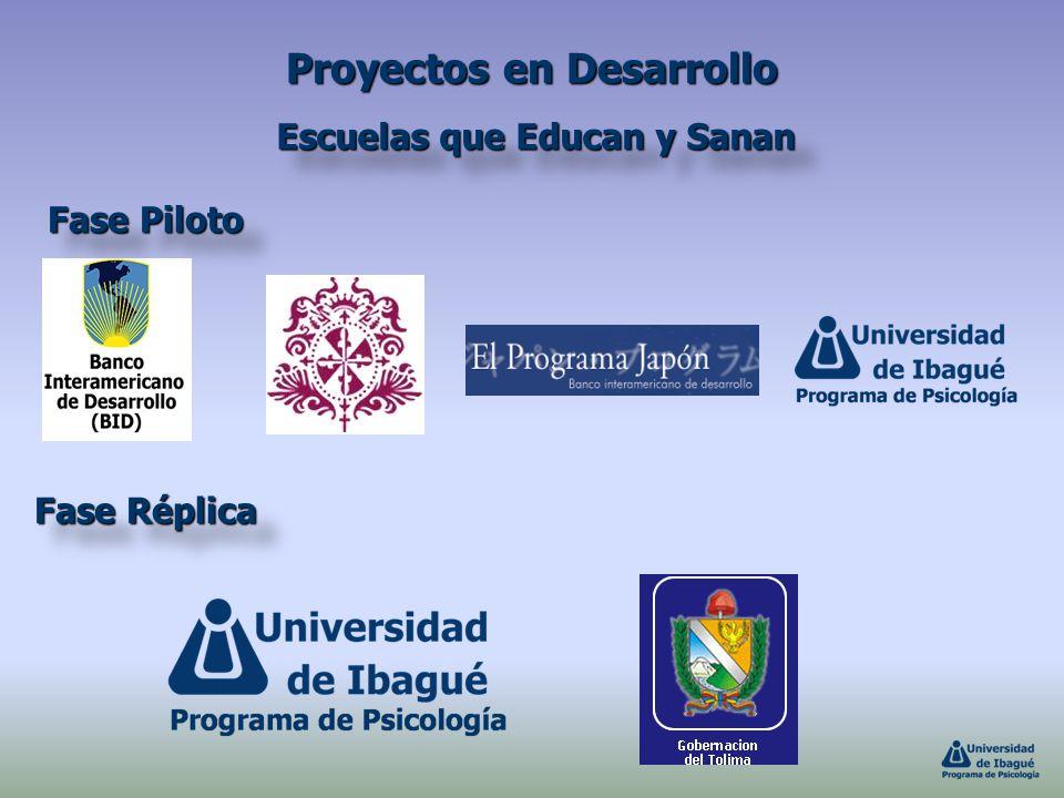 Proyectos en Desarrollo Escuelas que Educan y Sanan Fase Piloto Fase Réplica