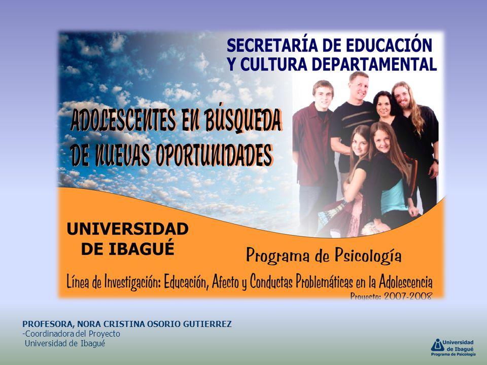 PROFESORA, NORA CRISTINA OSORIO GUTIERREZ -Coordinadora del Proyecto Universidad de Ibagué