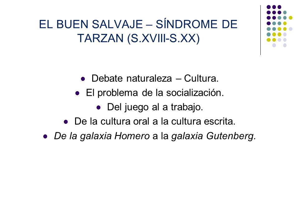 EL BUEN SALVAJE – SÍNDROME DE TARZAN (S.XVIII-S.XX) Debate naturaleza – Cultura. El problema de la socialización. Del juego al a trabajo. De la cultur