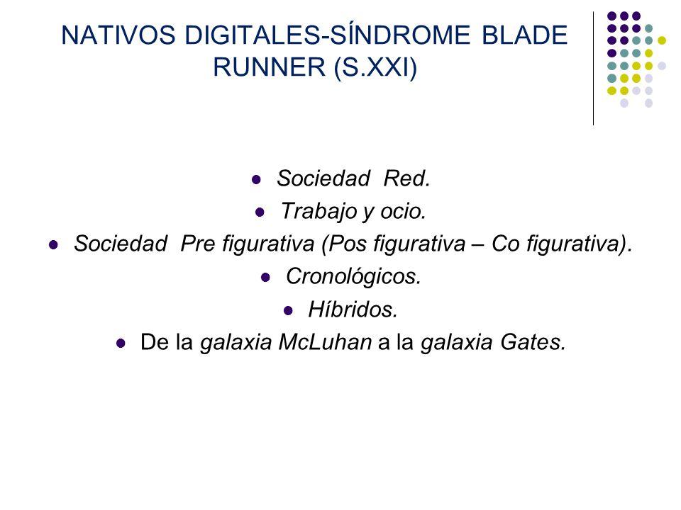 NATIVOS DIGITALES-SÍNDROME BLADE RUNNER (S.XXI) Sociedad Red. Trabajo y ocio. Sociedad Pre figurativa (Pos figurativa – Co figurativa). Cronológicos.
