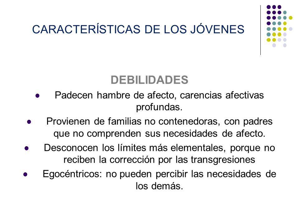 CARACTERÍSTICAS DE LOS JÓVENES DEBILIDADES Padecen hambre de afecto, carencias afectivas profundas. Provienen de familias no contenedoras, con padres
