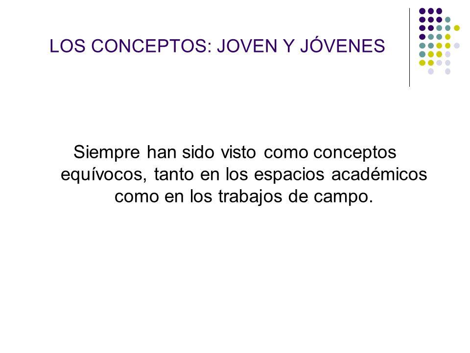 LOS CONCEPTOS: JOVEN Y JÓVENES Siempre han sido visto como conceptos equívocos, tanto en los espacios académicos como en los trabajos de campo.