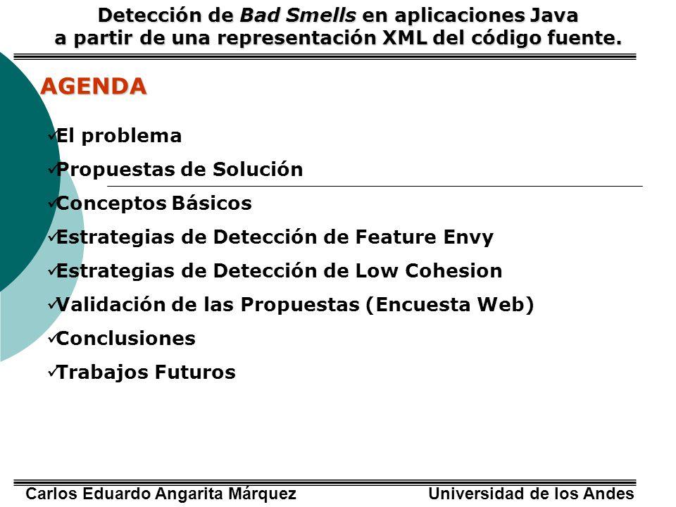 Carlos Eduardo Angarita Márquez Universidad de los Andes EL PROBLEMA Detección de Bad Smells en aplicaciones Java a partir de una representación XML del código fuente.