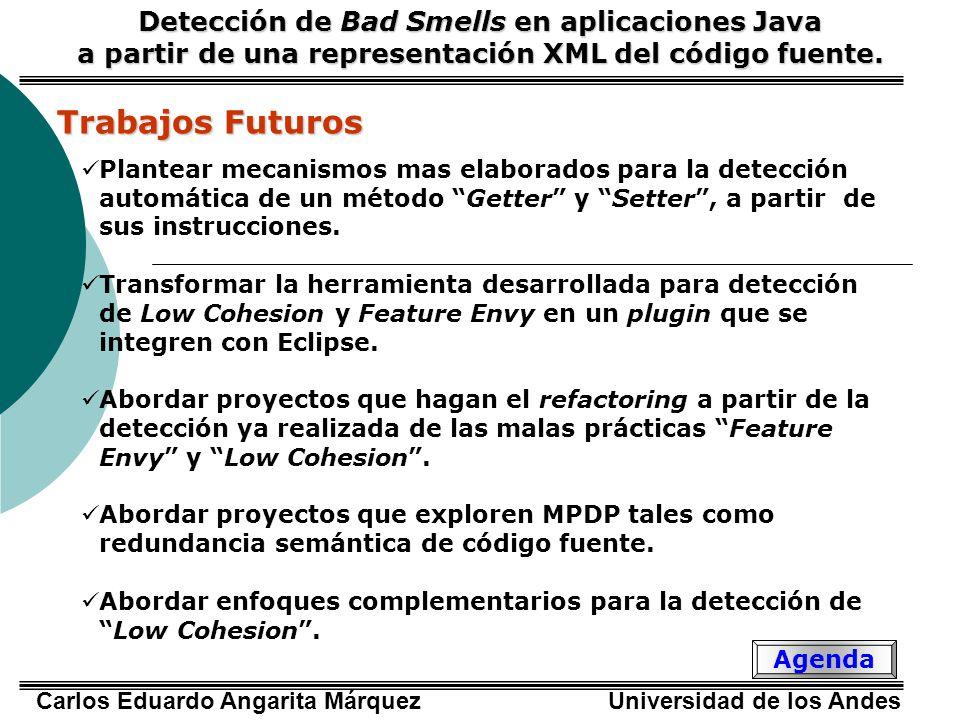 Carlos Eduardo Angarita Márquez Universidad de los Andes Trabajos Futuros Plantear mecanismos mas elaborados para la detección automática de un método Getter y Setter, a partir de sus instrucciones.