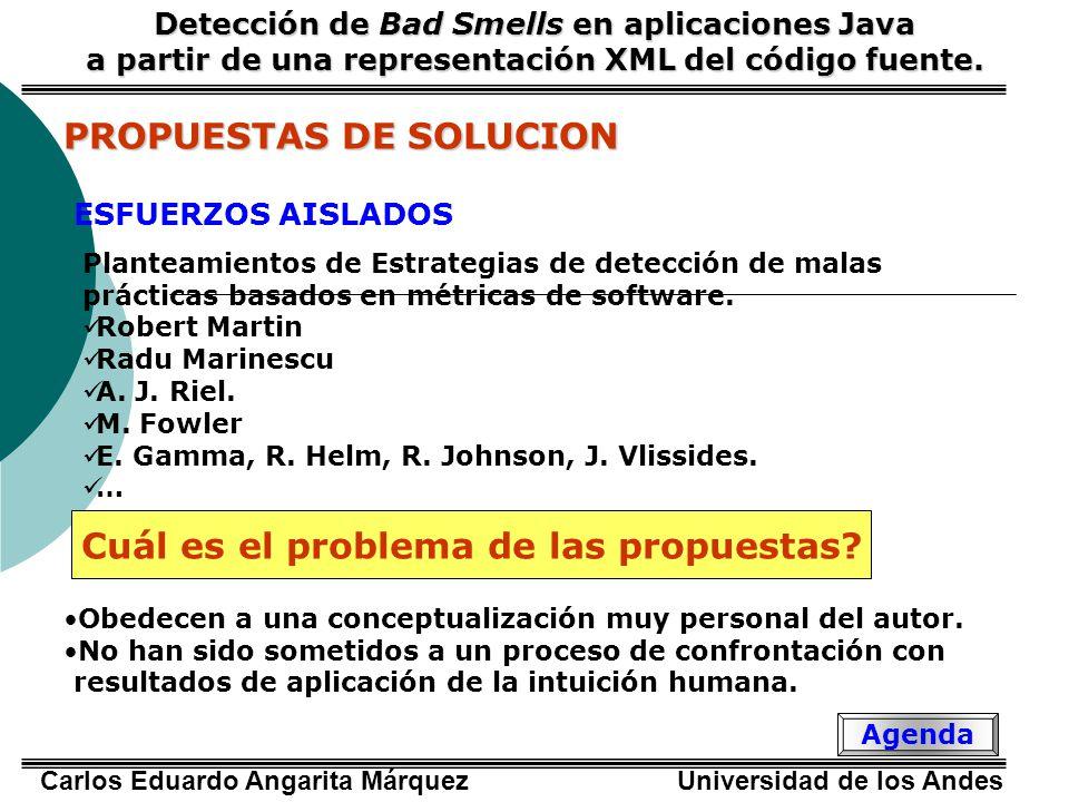 Carlos Eduardo Angarita Márquez Universidad de los Andes PROPUESTAS DE SOLUCION Detección de Bad Smells en aplicaciones Java a partir de una representación XML del código fuente.