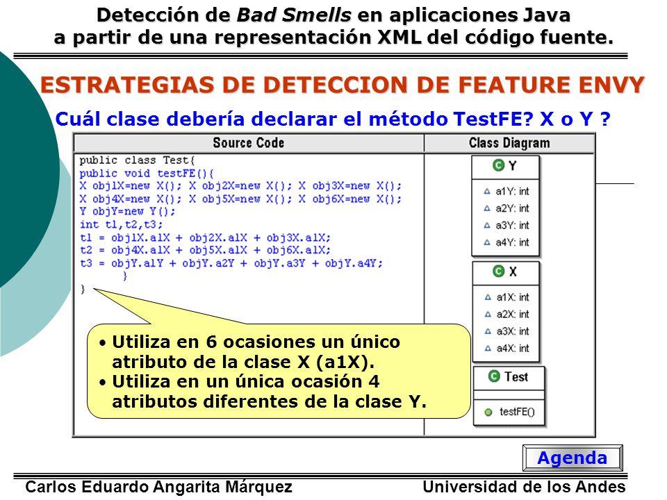 Carlos Eduardo Angarita Márquez Universidad de los Andes ESTRATEGIAS DE DETECCION DE FEATURE ENVY PORCENTAJE DE EXPLOTACIÓN DE CADA CLASE PORCENTAJE DE EXPLOTACIÓN DE CADA CLASE Detección de Bad Smells en aplicaciones Java a partir de una representación XML del código fuente.