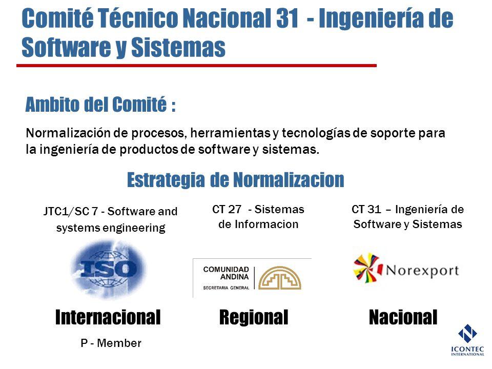 Ambito del Comité : Normalización de procesos, herramientas y tecnologías de soporte para la ingeniería de productos de software y sistemas. Estrategi