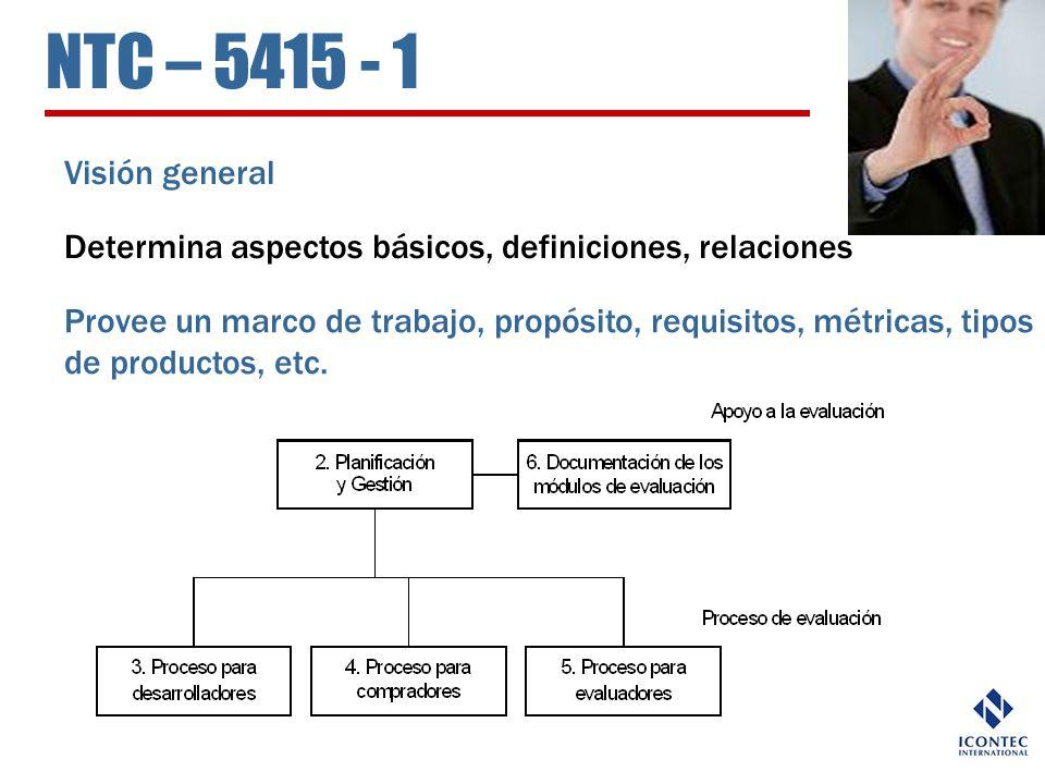NTC – 5415 - 1 Visión general Determina aspectos básicos, definiciones, relaciones Provee un marco de trabajo, propósito, requisitos, métricas, tipos