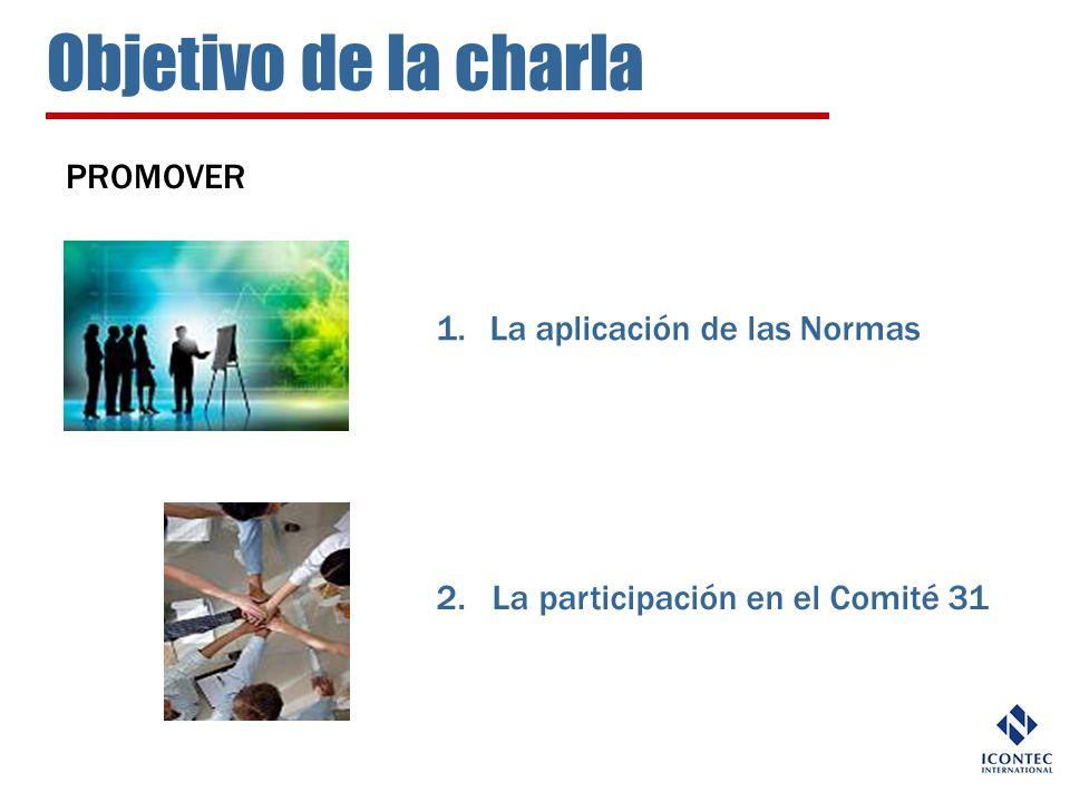 Objetivo de la charla PROMOVER 1.La aplicación de las Normas 2. La participación en el Comité 31