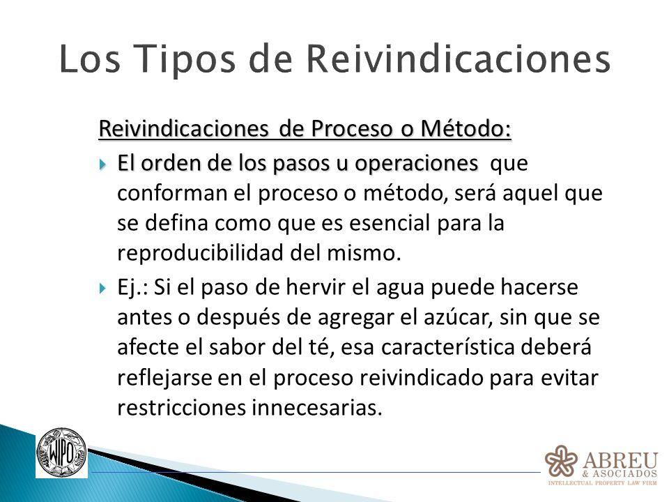 Los Tipos de Reivindicaciones Reivindicaciones de Proceso o Método: El orden de los pasos u operaciones El orden de los pasos u operaciones que confor