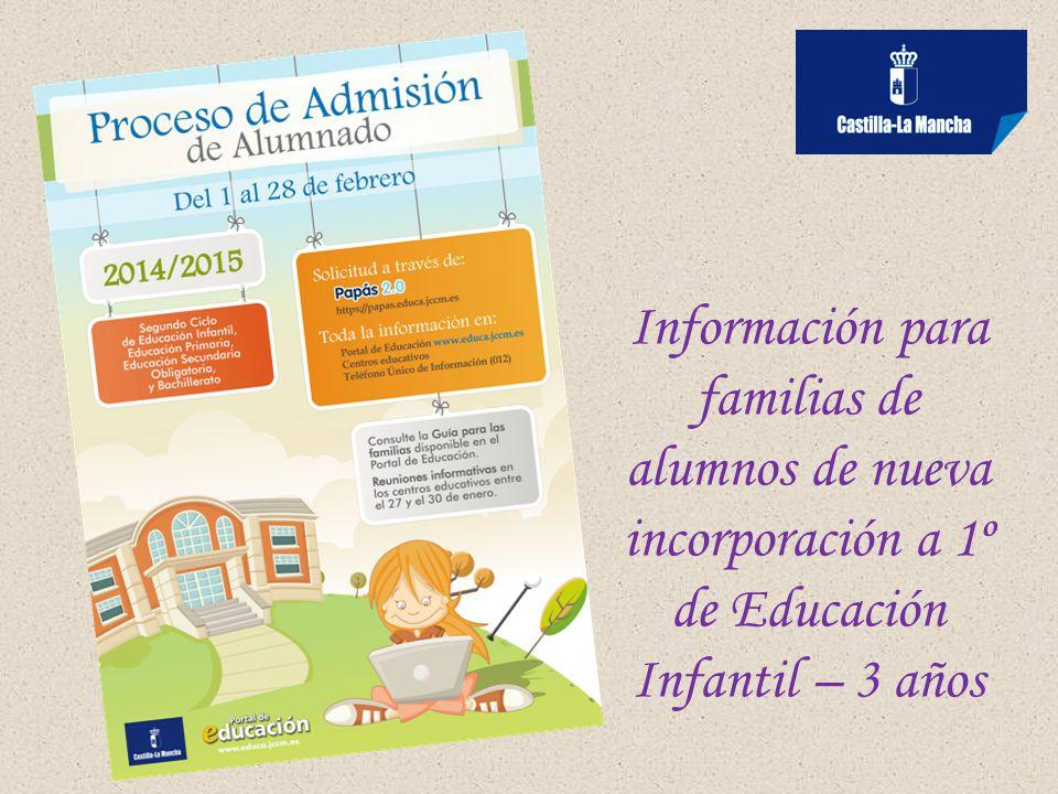 Información para familias de alumnos de nueva incorporación a 1º de Educación Infantil – 3 años