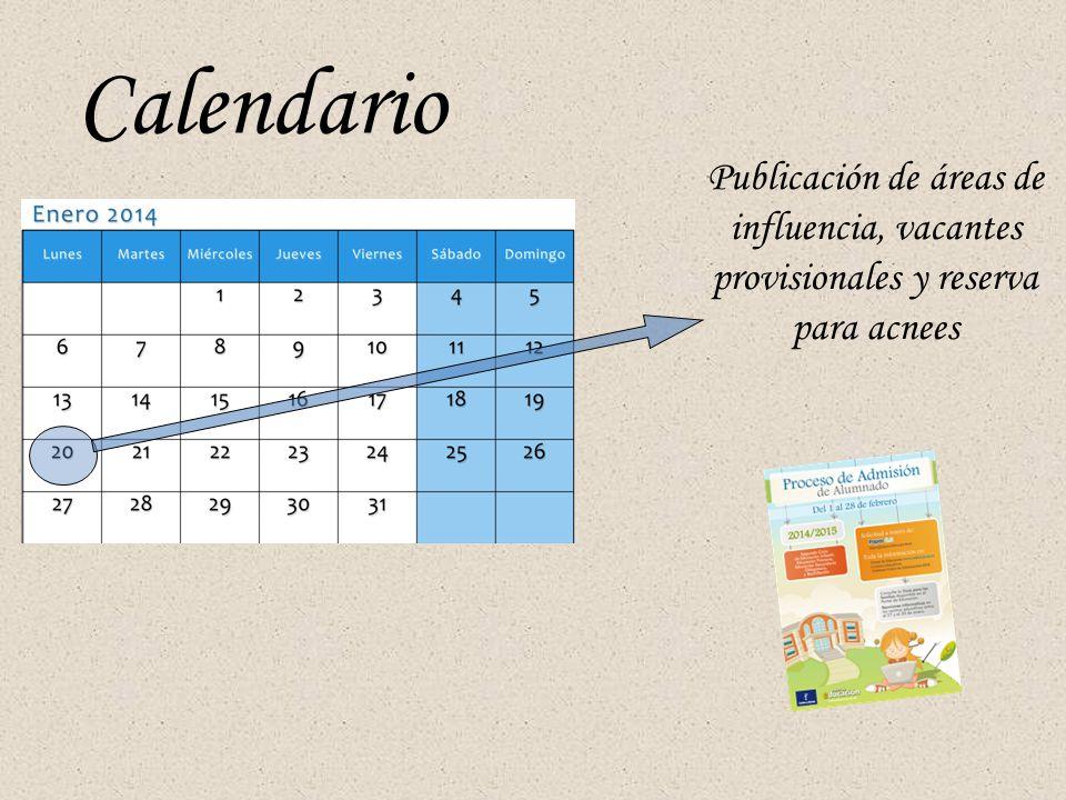 Calendario Publicación de áreas de influencia, vacantes provisionales y reserva para acnees
