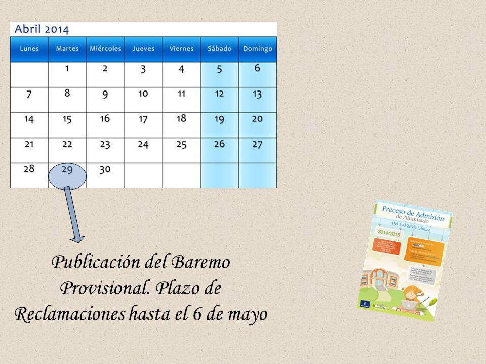 Publicación del Baremo Provisional. Plazo de Reclamaciones hasta el 6 de mayo