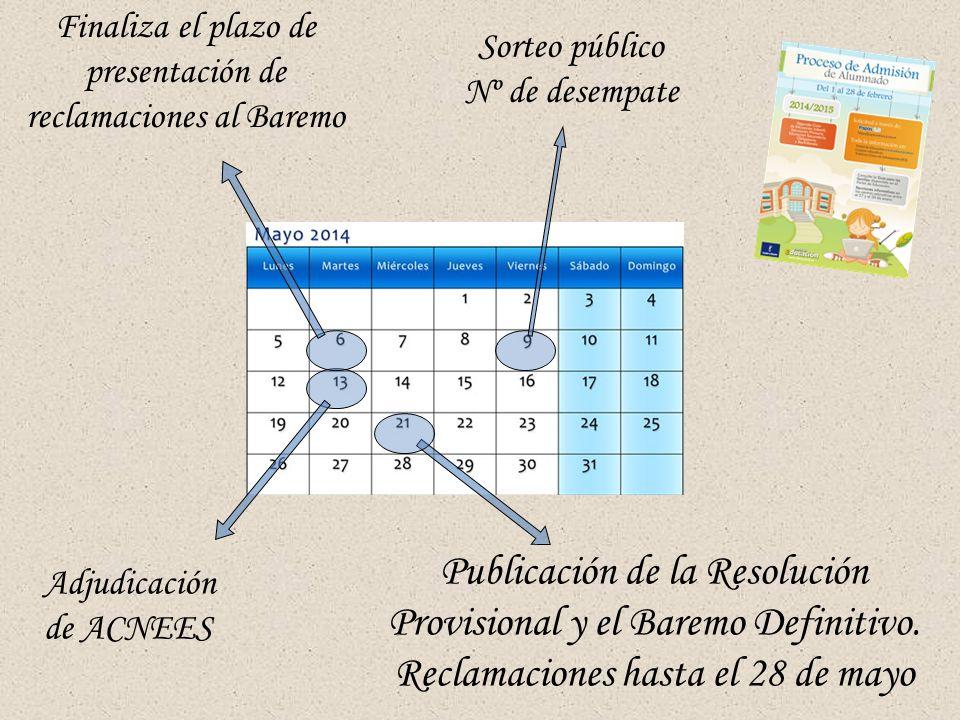 Finaliza el plazo de presentación de reclamaciones al Baremo Sorteo público Nº de desempate Adjudicación de ACNEES Publicación de la Resolución Provisional y el Baremo Definitivo.
