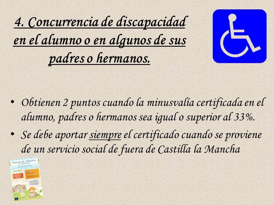 4.Concurrencia de discapacidad en el alumno o en algunos de sus padres o hermanos.