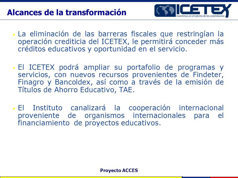 Proyecto ACCES La eliminación de las barreras fiscales que restringían la operación crediticia del ICETEX, le permitirá conceder más créditos educativ