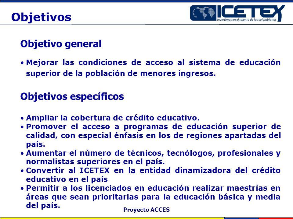 Proyecto ACCES Objetivo general Mejorar las condiciones de acceso al sistema de educación superior de la población de menores ingresos. Objetivos espe