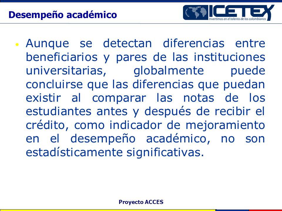 Proyecto ACCES Desempeño académico Aunque se detectan diferencias entre beneficiarios y pares de las instituciones universitarias, globalmente puede c