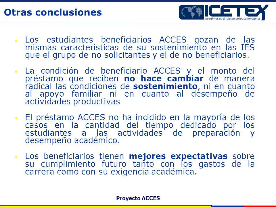 Proyecto ACCES Otras conclusiones Los estudiantes beneficiarios ACCES gozan de las mismas características de su sostenimiento en las IES que el grupo