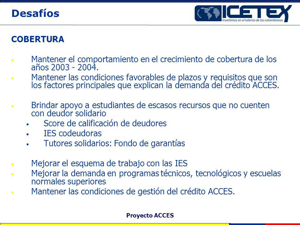 Proyecto ACCES Desafíos COBERTURA Mantener el comportamiento en el crecimiento de cobertura de los años 2003 - 2004. Mantener las condiciones favorabl