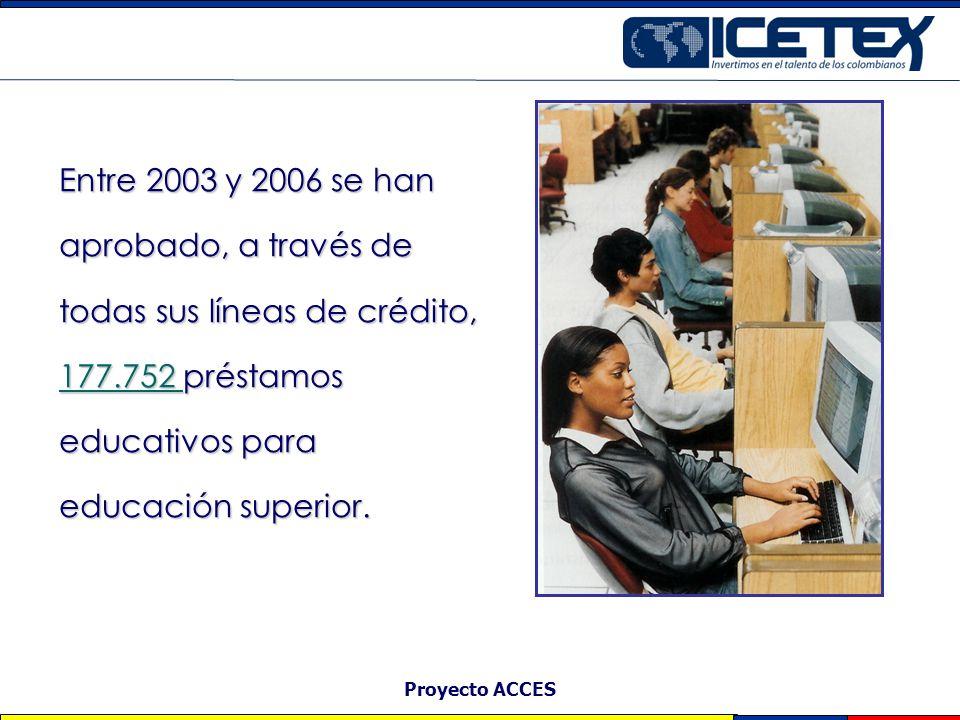 Proyecto ACCES Cobertura Entre 2003 y 2006 se han aprobado, a través de todas sus líneas de crédito, 177.752 préstamos educativos para educación super