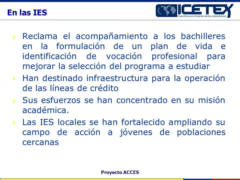 Proyecto ACCES Matriculados en la educación superior 2003 a 2004 Estudiantes beneficiarios del crédito ACCES Estudiantes que solicitaron el crédito ACCES y no les fue aprobado Estudiantes mismas condiciones socioeconómicas e instituciones de los beneficiarios que no solicitaron el crédito ACCES.