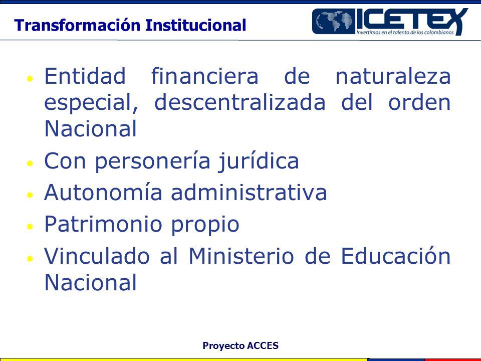 Proyecto ACCES Transformación Institucional Entidad financiera de naturaleza especial, descentralizada del orden Nacional Con personería jurídica Auto