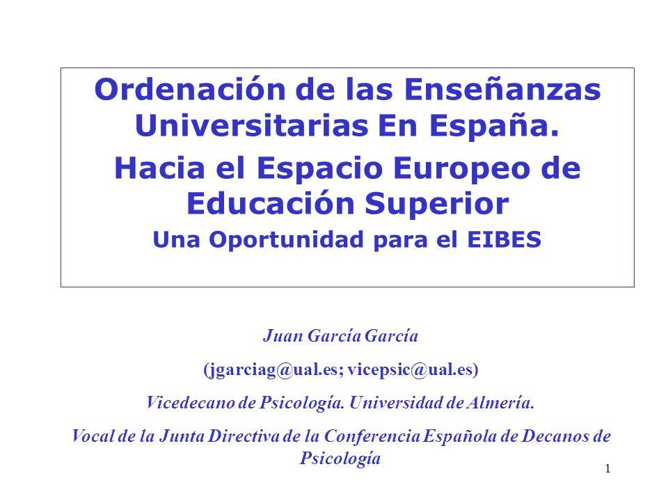 1 Ordenación de las Enseñanzas Universitarias En España. Hacia el Espacio Europeo de Educación Superior Una Oportunidad para el EIBES Juan García Garc