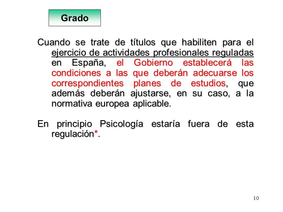 10 Cuando se trate de títulos que habiliten para el ejercicio de actividades profesionales reguladas en España, el Gobierno establecerá las condicione
